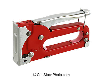Red carpenter stapler in safety position