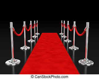 red carpet 3d illustration over dark background