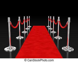 red carpet 3d illustration over dark background