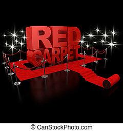 red carpet 3d illustration over over background