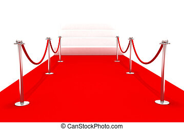 Red carpet - 3D rendering of a red carpet with metal...