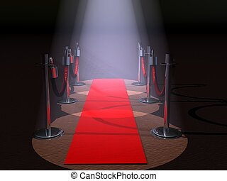 Red Carpet - A red carpet with spot lights and rope...