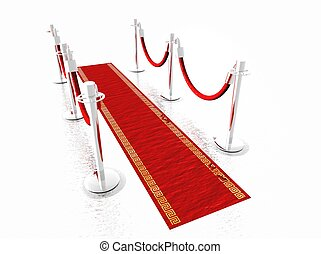 Red Carpet - A red carpet with stanchions and isolated on...