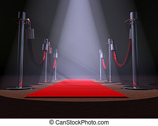 Red Carpet - A red carpet with stanchions and spot lights.