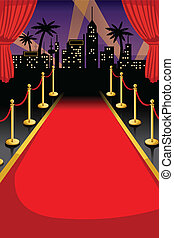 Red carpet - A vector illustration of red carpet with...