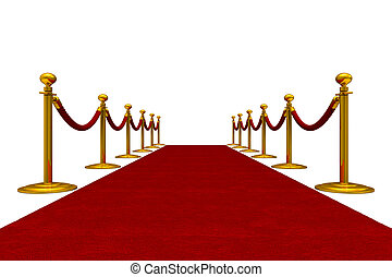 red carpet and barrier rope on white background. Isolated 3D...