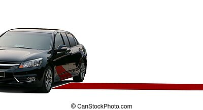 Red carpet and black limousine over white