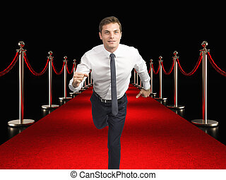 red carpet and businessman