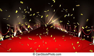 Red carpet and confetti - Digital animation of a red carpet ...