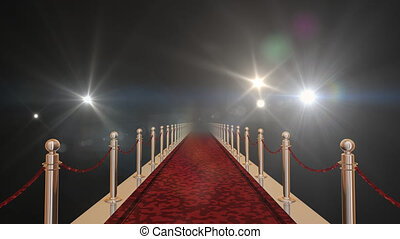 Red carpet with gold barriers, velvet ropes and flashlights in the background. 3D rendering in 16bit with alpha matte channel.