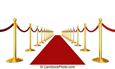 Red carpet and pillars with red ropes on a white background....