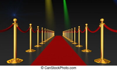 Red carpet and pillars with red ropes on the background of...
