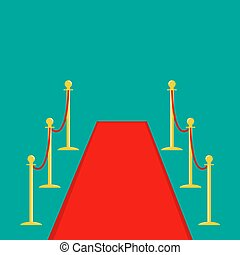 Red carpet and rope barrier golden stanchions turnstile Isolated template Green background. Flat design Vector illustration