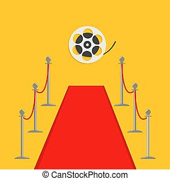 Red carpet and rope barrier golden stanchions turnstile Movie premiere Cinema reel. Isolated template Yellow background. Flat design Vector illustration