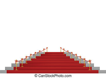 Red carpet path on a white ladder for VIP persons. Vector illustration