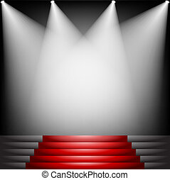 Red carpet and stairs with spotlight