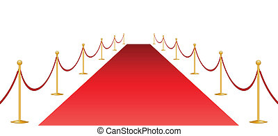Red carpet and stantion - Red carpet and stanchion isolated...
