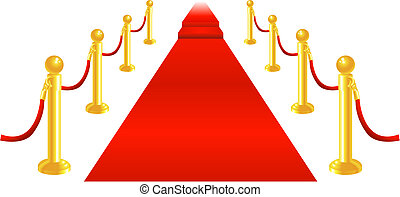 A red carpet and velvet rope with golden brass posts illustration. Representing luxury and v.i.p treatment.