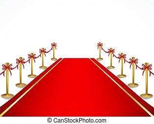 Red carpet and velvet rope. Vector
