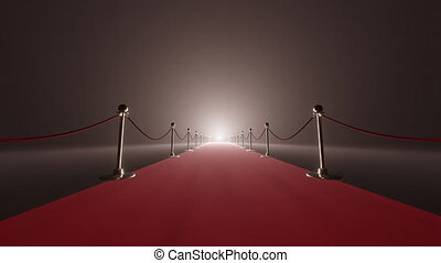 Red carpet and velvet ropes on gala night background. 3D rendering. Background
