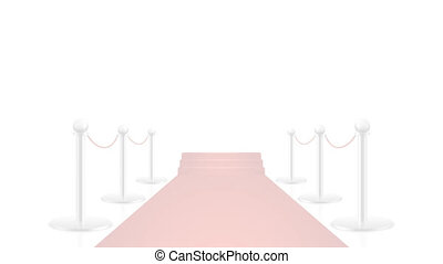 Red carpet animation on white and transparent background