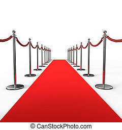 Red carpet background with barrier stanchion rope. 3D...