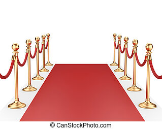 red carpet between two gold stanchions with rope. 3d...