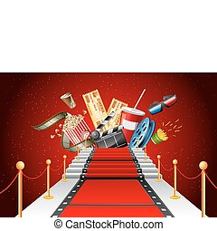 Red Carpet Entertainment - illustration of film stripe...