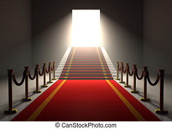3D entrance with a red carpet and gold poles with stairs and a shining exit door