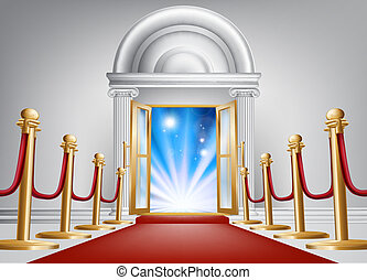 Red carpet entrance - A red carpet entrance with velvet rope...