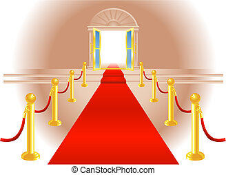 Red Carpet Entrance - A red carpet leading up to a lavish...