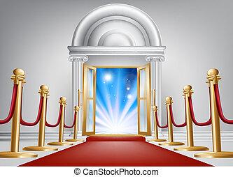 Red carpet entrance - A red carpet entrance with velvet rope...