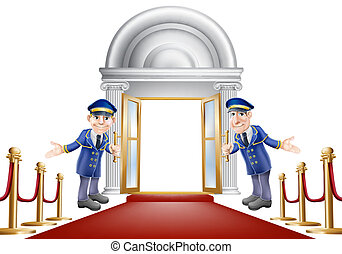 Red carpet entrance - An illustration of a red carpet...