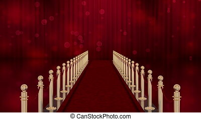 red carpet entrance with the stanchions and the ropes. red...
