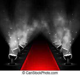 Red carpet with spotlights. Eps 10