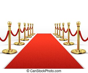 Red carpet for celebrity with gold rope barrier. Success, prestige and hollywood event vector concept