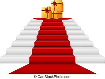 Red carpet, gift boxes