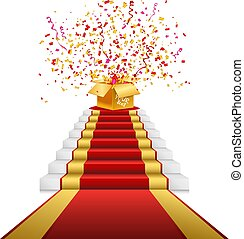 Red carpet, golden gift box with confetti