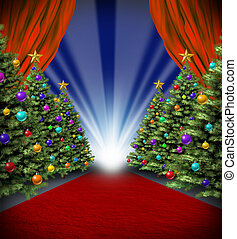 Red Carpet Holidays - Red carpet holidays with curtains and...