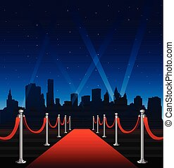 Red carpet hollywood big city event background