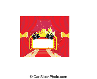 Red carpet Hollywood premier , abstract card, movie clapper board frame