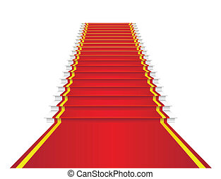 Red carpet is on the stairs.