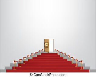 Red carpet leading up to a lavish door