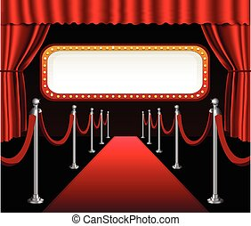 Red carpet movie premiere elegant event red curtain theater and billboard banner sign
