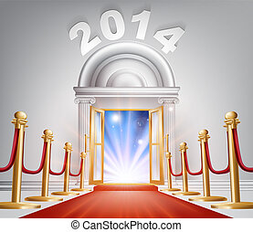 Red Carpet New Year Door 2014 - An illustration of a posh...