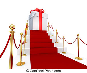 Red carpet on a stairs and gift box. 3d rendered. Isolated on white background.