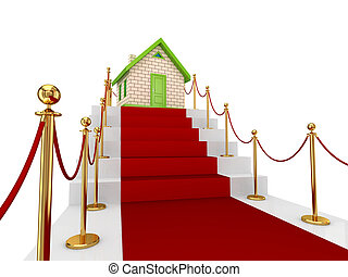 Red carpet on a stairs and small house. Isolated on white...