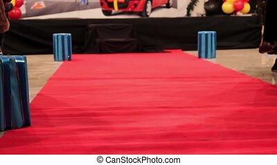 Red carpet on floor