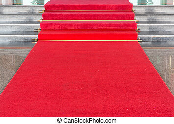 Red carpet on walkway to upstair