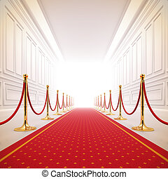 Red carpet path to success light. - A 3d illustration of red...